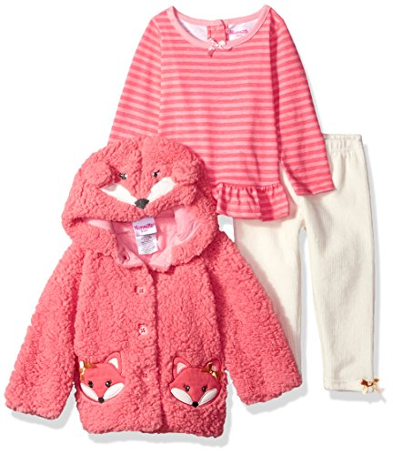 Nannette Baby Girls 3 Piece Hooded Faux Fur Jacket Set with Tee and Pant