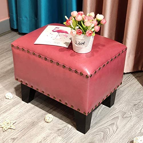 Leather Upholstered Cube Pouf Ottoman,pouffe Footstool Solid Wood Square Leather Living Room Coffee Table Small Bench-b 36x26x30cm 14x10x12inch