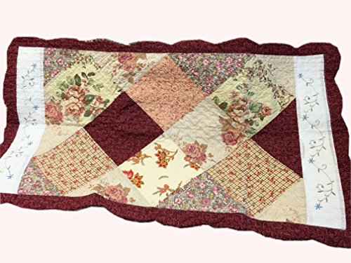 Cozy Line Home Fashions Floral Real Patchwork Burgundy Red Coral Pink Country, 100% COTTON Quilt Bedding Set, Reversible Coverlet Bedspread, Scalloped Edge,Gifts for Women (Georgia, Twin - 2 piece) by Cozy Line Home Fashions (Image #4)