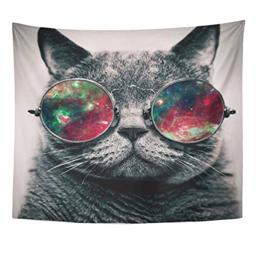 Semtomn Tapestry Artwork Wall Hanging Galaxy Cat Wearing Sunglasses Cute Adorable Tumblr Inspired Chic 50x60 Inches Home Decor Tapestries Mattress Tablecloth Curtain Print]()