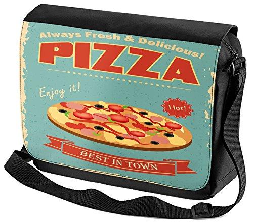 Umhänge Schulter Tasche Nostalgie Fun Pizza bedruckt