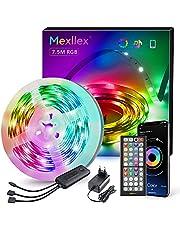 LED-strip 7,5 m, Bluetooth RGB LED-strip, kleurverandering, LED-lichtketting 7,5 m met bestuurbaar via app, 16 miljoen kleuren, afstandsbediening, synchronisatie met muziek, LED-band voor slaapkamer, tv, thuis, kastdek