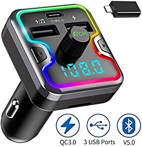 ZeaLife Wireless Radio Adapter for Car with QC 3.0 Fast Charging Port Hands Free Calling Car Charger and Music Player Kit Dual USB Ports Support TF Card USB Flash Drive Bluetooth FM Transmitter