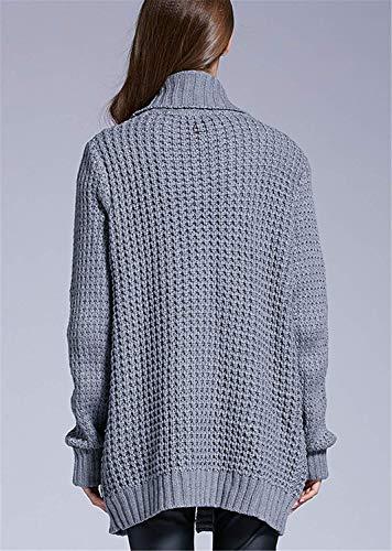 Bolsillos Abrigo Con Elegantes Suéter Tejido Outerwear Anchas Largo vxRZaIq