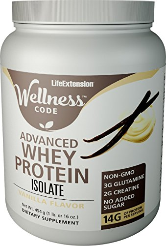 Life Extension Wellness Code Advanced Whey Protein Isolate, Vanilla, 454 Gram