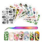 BEAUTYBIGBANG 10 Sheets Nail Art Stickers Water Transfer Decals with Nail Tweezers Nail Art Tattoos DIY Decorations for Girls Women Holiday Theme