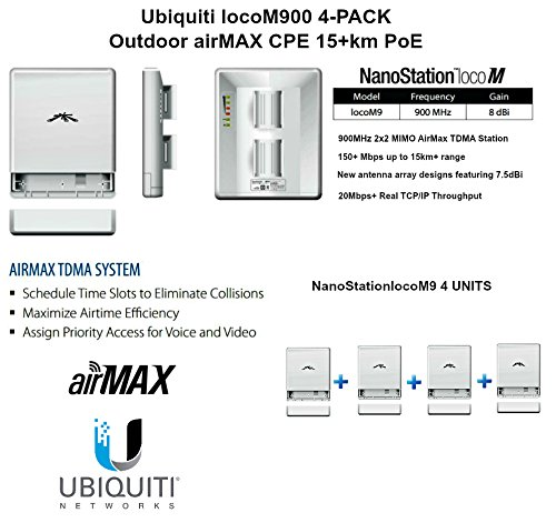 Ubiquiti locoM9 4-PACK NanoStation loco M900 900MHz Outdoor airMAX CPE 15+km PoE by Ubiquiti Networks (Image #1)