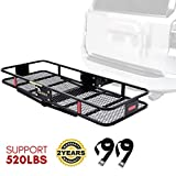 """KING BIRD Updated Anti-Rust Design 520 lbs 60"""" x 24"""" x 6"""" Folding Cargo Carrier w/Packing Straps Hitch Mount Basket Fits to 2'' Receiver"""