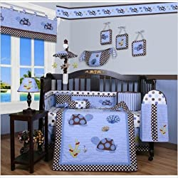 GEENNY Boutique Crib Bedding Set, Sea Turtle, 13 Piece