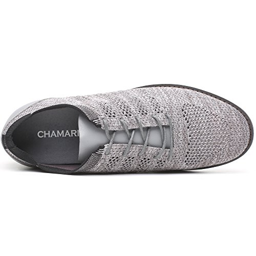 CHAMARIPA Mens Casual Loafers Shoes Grey 2.36 inches Height Increasing Insoles Grey xKr5lfS