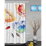 Watercolor Art Painting Colorful Flowers Bathroom Shower Curtains Beautiful Spring Scenery Home Decor Shower Curtain Waterproof Mildew Polyester Fabric