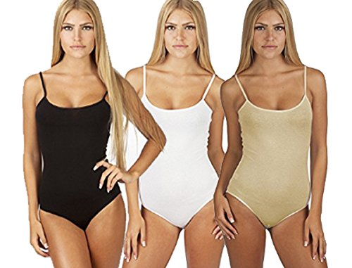 (Snap Crotch Thin Strap Leotard Bodysuit Camisole Bodysuit Camisole (Small, 3 Pack: Black, Nude, & White))