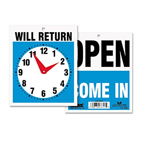 Headline Sign 9382 Double-Sided Open/Will Return Sign w/Clock Hands, Plastic, 7 1/2 x 9