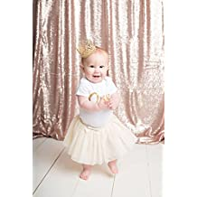 QueenDream Champagne Blush sequin photography backdrop christmas,backdrop wedding decoration, Size:4ft x 6.5ft.