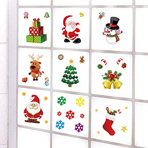 36 Pcs Christmas Window Clings Decal Ornaments Removable Reusable,10 Pack Window Refrigerator Stickers for Home Cafe Showcase Christmas Decorations with Snowman, Santa Claus,Snowflake, Bell, Tree,Sock