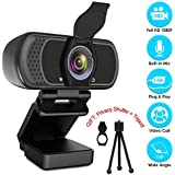 Webcam HD 1080p Web Camera, USB PC Computer Webcam with Microphone, Laptop Desktop Full HD Camera Video Webcam 110-Degree Widescreen, Pro Streaming Webcam for Recording, Calling, Conferencing, Gaming