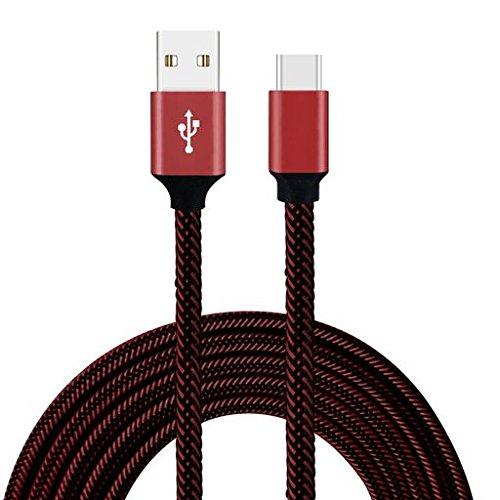redvive por parte superior Trenzado de, USB 3.1Tipo C Cable, Cable envuelto última intervensión de enredos 3.3ft (1m)...