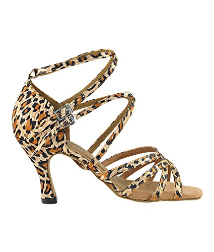 Veldig Fine Ballroom Latin Tango Salsa Dans Sko For Kvinner -5008 Til 2,5 Hæl + Sammenleggbar Skoen Pensel Bunt Leopard Sateng