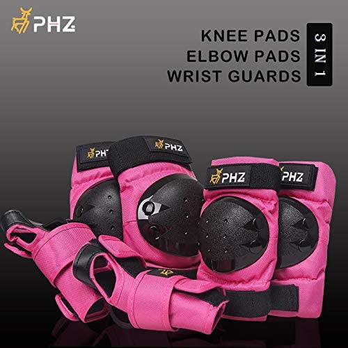 PHZ Kids//Adults 3 in 1 Skateboard Protective Gear Set Knee Pads Elbow Pads Wrist Guards Rollerblading Skateboard Cycling Skating Bike Scooter