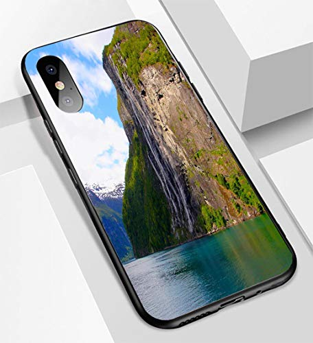 iPhone X/XS Ultra-Thin Glass Back Phone case,Seven Sisters Waterfall  Crossing Norway Impressive Geiranger Fjord by Ferry Norwegian Dramatic  lasoft and