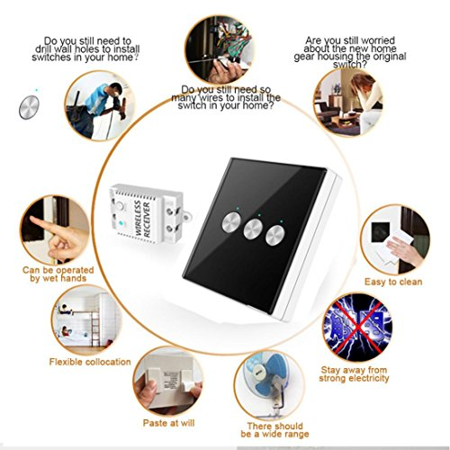 Nacome Wireless Wall Switch Lighting Control,3 x receivers,Remote Operation,Capacitive Glass Wireless Wall Switch (Black) by Nacome (Image #3)