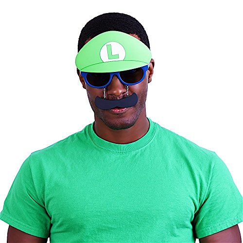 Sun-Stache Super Mario Bros - Sun Glasses - Shades - Sunstache - - Sunglasses Luigi