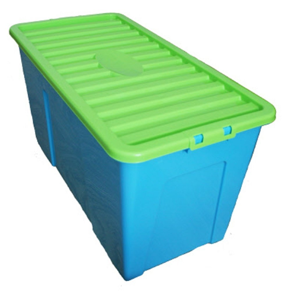 Superior 110 Litre Extra Large Plastic Storage Boxes With Lids   Blue/Lime (Pack Of  3) Blue/Lime: Amazon.co.uk: Kitchen U0026 Home