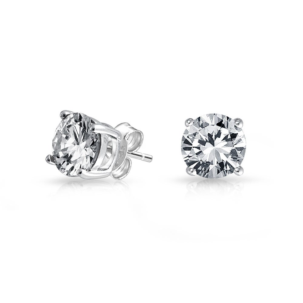 4-Prong Basket Set Unisex Round CZ Solitaire Stud Earrings in 925 Silver (8mm)