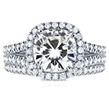 Forever One (D-F) Moissanite and Halo Diamond Bridal Set 2 3/4 CTW in Platinum