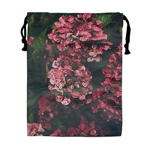 Hydrangea Pink Flowers Drawstring Bag for Girls Print Backpack Travel Gym Bags