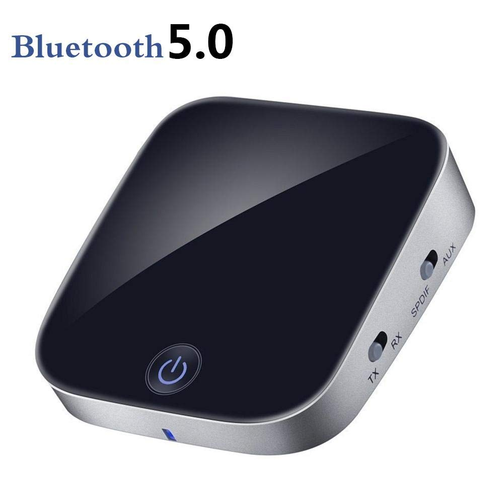Bluetooth 5.0 Transmitter Receiver, with Fiber Optic 2-in-1 Adapter Digital Optical TOSLINK/SPDIF RCA and 3.5mm Wireless Audio Adapter aptX HD aptX LL Low Latency Pair 2 at Once Ya-tube