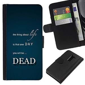 KLONGSHOP // Tirón de la caja Cartera de cuero con ranuras para tarjetas - Vida cosa muerta muerte Cita inspirada - LG G2 D800 //