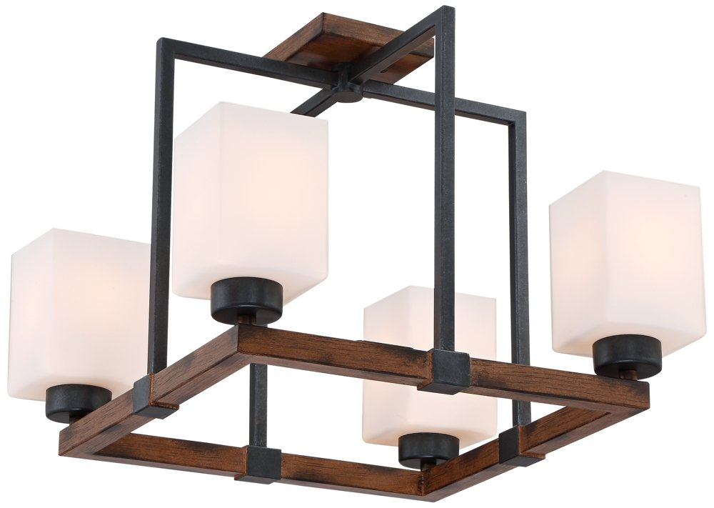 Hudson 18 3/4'' Wide Bronze and Wood 4-Light Ceiling Light by Franklin Iron Works