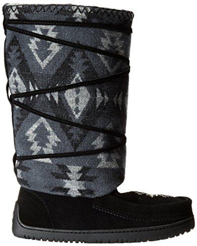 Manitobah Mukluks Womens Wool Lace-Up Mukluk Winter Boot Black qAN5AS