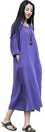eddf038666 Soojun Women s Essential Cotton Linen Long Sleeve Split Hem Baggy Maxi  Dresses Blue Purple Small