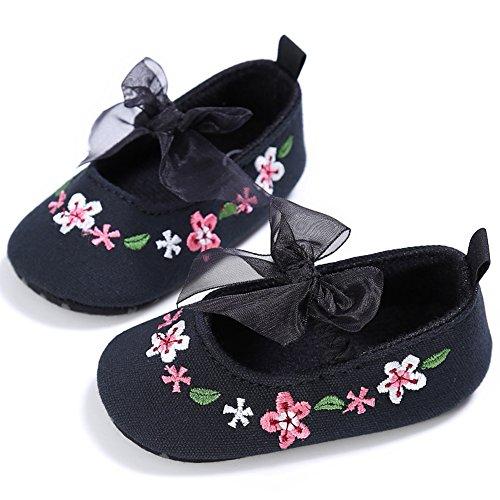 Domybest Neugeborene Baby Mädchen Spitze weiche Sohlen Anti-Slip Prewalker Kleinkind Schuhe(4 Farben) Schwarz