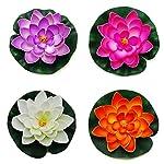 JAROWN-4pcs-Foam-Lotus-Flower-Artificial-Floating-Flowers-Water-Lily-Fake-Leaves-Plants-for-Fish-Tank-Aquarium-Pond-Decor18cmOrange
