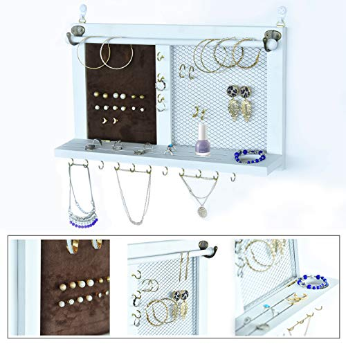 Kullavik Wall Mounted Jewelry Organizer Armoires Home Decor Display Shelf Storage for Necklaces,Bracelets,Ring Holder,Earings Wire Mesh,Velvet Earring Display,Incl.Hooks for Hanging Jewelries (Earring Wall Hanging)