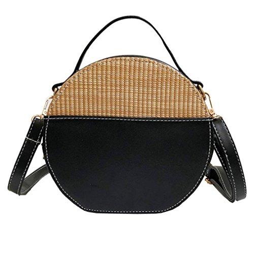 (Women's Handbag 2019 Vintage Crossbody Bags Simple Weave Round Tote Shoulder Bag Black)