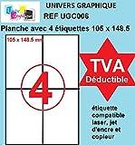 400 étiquettes 105 x 148.5 mm - 100 feuilles - planches feuille autocollante de 4 étiquettes - facture avec TVA DÉDUCTIBLE contrairement à certains vendeurs (auto entrepreneurs) Réf UNIVERS GRAPHIQUE UGC006-100 105 x 148