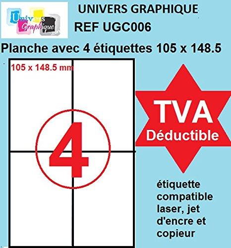 R/éf UNIVERS GRAPHIQUE UGC006 105 x 148 500 feuilles A4- TVA D/ÉDUCTIBLE contrairement /à certains vendeurs 2000 /étiquettes A6 105 x 148.5 mm auto entrepreneurs