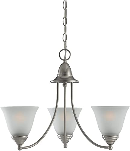 Sea Gull Lighting 31575-962 Chandelier with Satin Etched Glass Shades, Brushed Nickel Finish