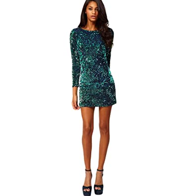 60aef170a8 Buy Segolike New Sexy Women Sequin Bodycon Dress Round Neck 3/4 Sleeve  Plunge Back Party Evening Mini Club Dress Green Online at Low Prices in  India ...