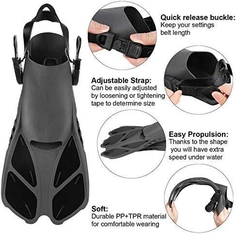 Wsobue Pinne da Immersione,Viaggio Pinne da Snorkeling per Uomo Donna,Regolabili Tallone Aperto Pinne per Immersioni Subacquee Nuoto e Snorkeling