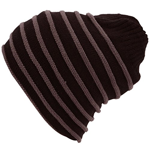 Men / Women's Winter Cable Knit Bun Ponytail Slouchy Beanie Hat, (Tail Striped Hat)