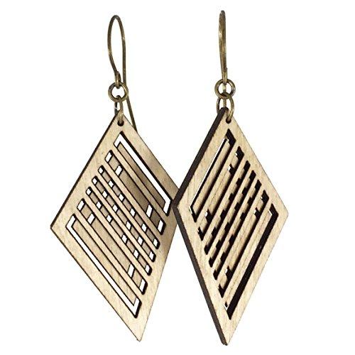 HEAD-TURNER | skewed diamond wood earrings