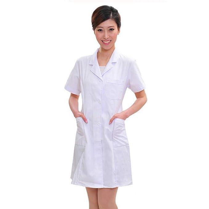 ESENHUANG Dama Blanca De Manga Corta Bata De Laboratorio De Algodón Médicos Científico Mujer Enfermera Uniforme Vestido Traje Ropa Médica: Amazon.es: Ropa y ...