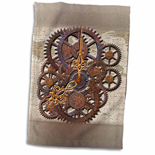 3dRose Spiritual Awakenings Patterns - Steam Punk cog wheels in Bronze - 12x18 Towel (twl_108102_1)