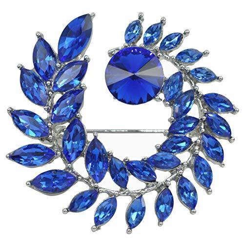 Gyn&Joy Women's Blue Crystal Circle Leaf Floral Wreath Statement Brooch Pin BZ200