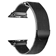 AOSCWALD Compatible with iWatch Band 38/40mm 42/44mm,Men/Women Magnetic Closure Clasp Replacement Mesh Milanese Bands Compatible for iWatch Series 1/2/3/4 (Black, 42/44MM)